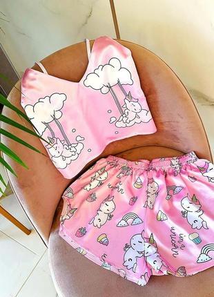 Sale💟шелковая пижама топ шорты единорожки