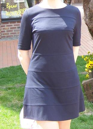 Платье mango тёмно-синее, трикотаж, л