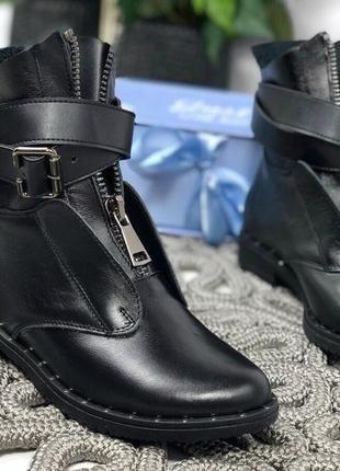 Женские ботинки черные на низком ходу натуральная кожа mary soft