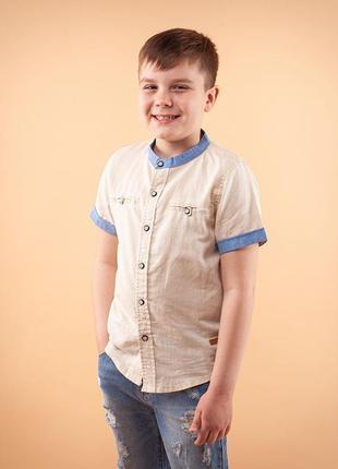 Рубашка льняная с коротким рукавом на мальчика