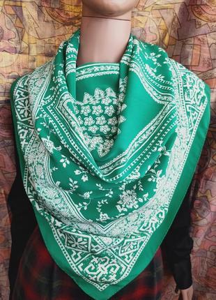 Шелковый платок зелёный чистый шёлк striebnig