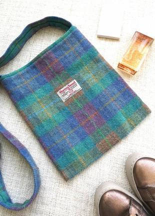 Шерстянная плоская сумка сумочка через плечо harris tweed англия винтаж ретро