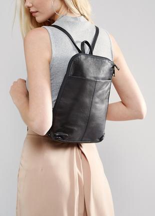 Кожаный новый миниатюрный маленький чёрный рюкзак asos