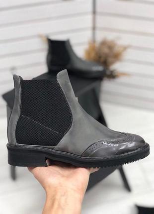 Ботинки челси из натуральной кожи нубук серого цвета + видео