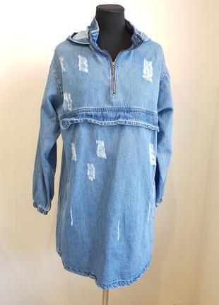 Синее джинсовое платье с капюшоном magazin