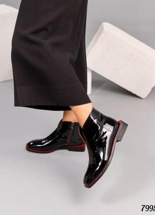 Шикарные лаковые ботинки натуральная итальянская кожа код 7995
