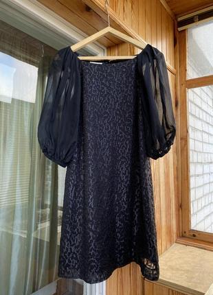 Шикарное нарядное платье с пышными рукавами пуфами сукня