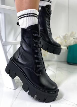 Новые женские кожаные демисезонные чёрные ботинки на грубой подошве
