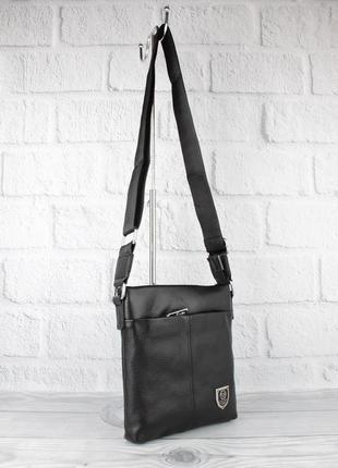 Кожаная мужская сумка через плечо, планшет рр 711-2 средняя, 24*22*4 см