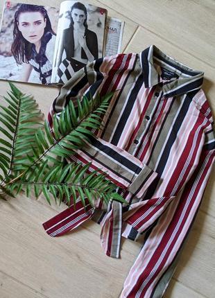Классная укороченная рубашка в полоски с завязкой oversize оверсайз s m