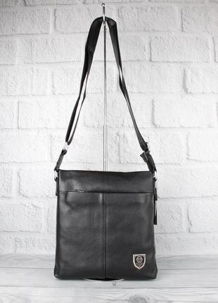 Кожаная мужская сумка через плечо, планшет рр 711-3 большая, 26*24*5 см