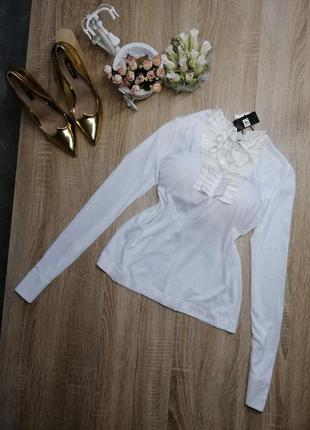 Новая белая блуза с жабо и лентой на шею шикарная новая дизайнерская s m fly now