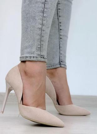Туфли бежевые - эко-замша