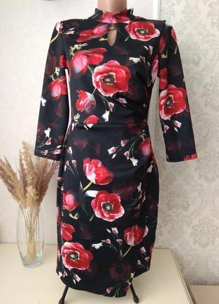 Красивое платье в цветы с запахом 🌹🌹🌹