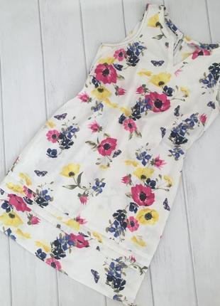Льняное платье в цветы р.42 xl {16/44} george