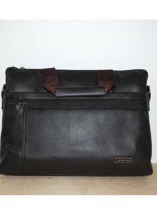Мужской портфель, коричневая сумка polo vicuna