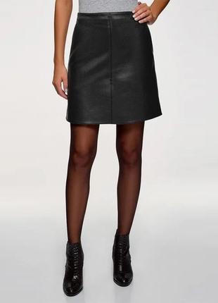 Новая чёрная юбка из эко кожи primark
