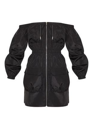 Мини платье черное с карманами и молнией впереди, карго, плащовка, спорт платье