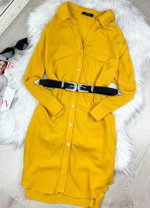 Желтое платье рубашка оверсайз  bershka 💕