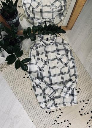 Котонова рубашка в клітинку від h&m🌿