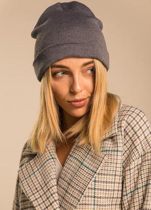 Женская шапка из двойной вязки