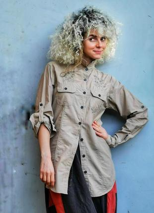 Рубашка с вышивкой туника длинная yessica c&a коттон хлопок