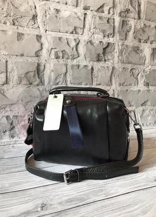 👜 женская черная  сумка polina & eiterou натуральная кожа / наложенный платёж bs 👜