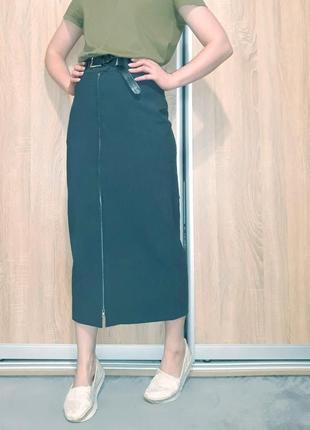Винтажная шерстяная юбка-миди футляр на высокой посадке с молнией bill tornade франция
