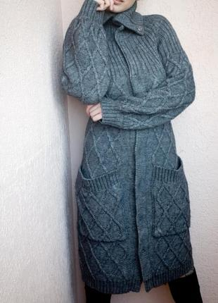 Вязаное пальто, теплое пальто, вязаная кофта, кардиган, пальто на кнопках