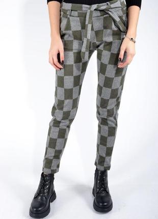 Оливковые брюки женские в клетку зауженные l;m;xl;xxl