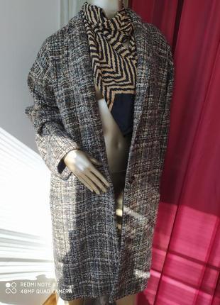 Тёплое шерстяное удлинённое пальто клетка new look