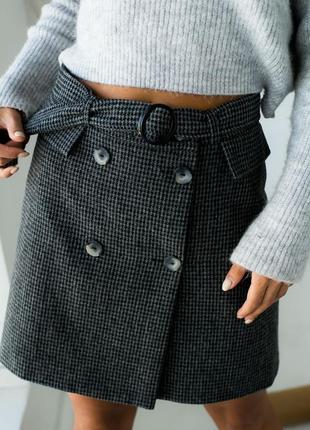 Шерстяная юбка на запах с ремешком