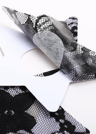 Одноразовые наклейки стикини клеевые накладки на сосок грудь черные кружевные липкие