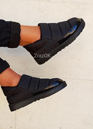 Черные короткие дутики ботинки слипоны кроссовки теплые угги