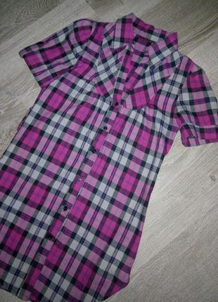 Стильное натуральное катонновое платье рубашка в клетку m-l