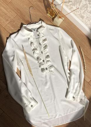 Шикарная удлинённая белая блузка/туника