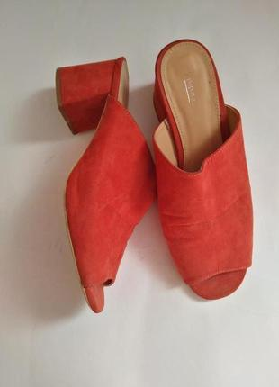 Сабо сланцы шлепки на каблуке 40-41 размер замш теракот