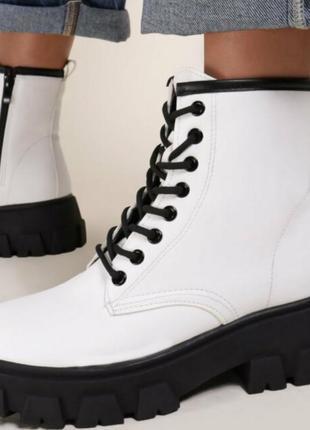 6 цветов ботинки высокие на шнурках демисезонные мартинсы берцы толстая подошва