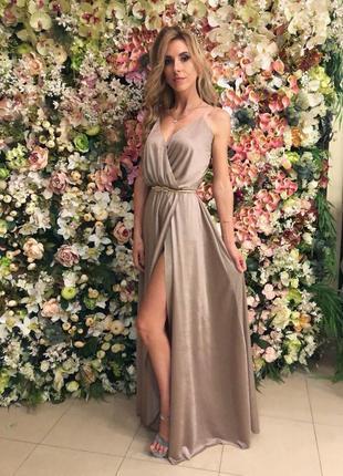 Шикарное вечернее платье боди с разрезом