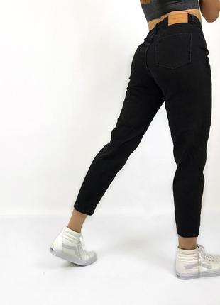 Черные мом джинсы бойфренды высокая посадка zara trafaluc mom jeans