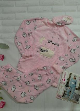Женская теплая пижама + тапочки + повязка