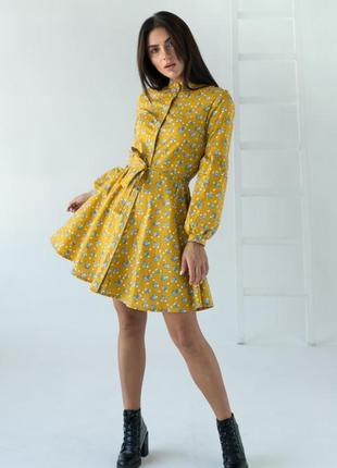 Цветочное платье с рукавами фонариками