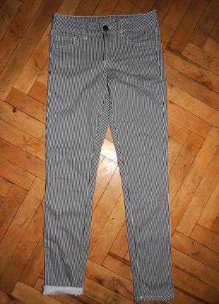 Полосатые джинсы брюки