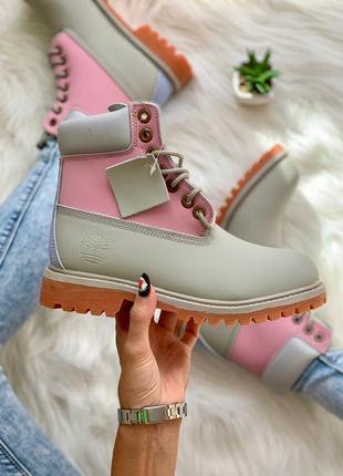 Timberland pink grey 🆕 шикарные осенние ботинки тимберленд 🆕 купить наложенный платёж