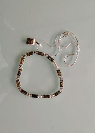 Браслет + ланцюжок з кулоном, срібло 925 проба