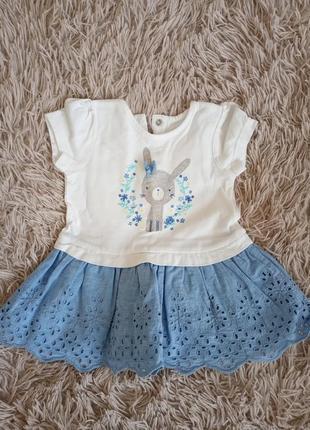 Детское платье для девочки белое голубое нс кнопочках