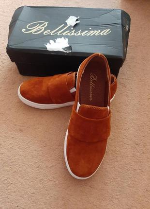 Замшевые туфли слипоны