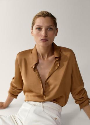 Шелковая рубашка блуза из шелка шовкова сорочка з шовку бронзовая artigiano 100% шелк