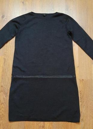 Теплое шерстяное платье темно-серого цвета