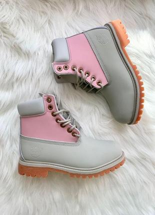 Новинка женские ботинки timberland pink grey без меха